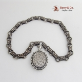 Antique Victorian Sterling Silver Book Chain Collar Bookchain-Full English Hallmarks 1890s Locket Pendant Necklace