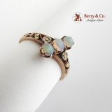 Victorian Opal Ring Rose Yellow and White 18 K Gold