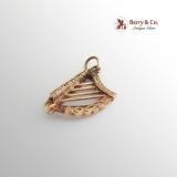 Vintage Celtic Design Figural Harp Charm or Pendant 9 K Gold