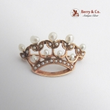 Vintage Crown Brooch 14 K Gold Seed and Baroque Pearls
