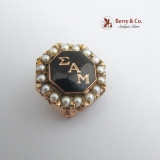 Vintage Sigma Alpha Mu Fraternity Pin Seed Pearls 10 K Gold Enamel