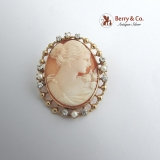 Vintage Shell Cameo Brooch or Pendant 10 K Gold
