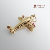 Vintage Airplane Charm Seed Pearls Synthetic Rubies 14 K Gold