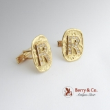 Custom Made Cufflinks Monogram R 18 K Gold Diamonds
