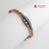 Vintage Victorian Bangle Bracelet Turquoise Seed Pearls 14 K Gold