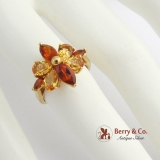 Dazzling Citrine Cocktail Ring 14 K Gold