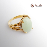 Estate Apple Green Jade Ring Bamboo Design Setting Diamond Accents