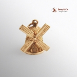 Vintage Filigree Windmill Movable Charm 14 K Gold