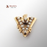 Alpha Beta Gamma Fraternity Pin Seed Pearls 14 K Gold