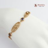 Vintage Edwardian Bracelet Seed Pearls Synthetic Sapphire 14 K Gold