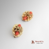 Victorian Pair of Brooches Coral 14 K Gold