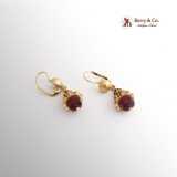 Dangle Earrings 18 K Gold Amethyst Beads