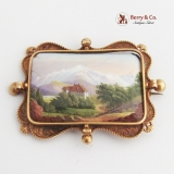 A Swiss Gold and Enamel Landscape Brooch 14k Gold Château de Chillon in Swiss Alps. Unmarked.