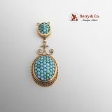 Victorian Turquoise Double Drop Pendant 14 K Gold
