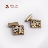 Hand Made Cufflinks Lion Crown Shield Axe 14 K Yellow Gold