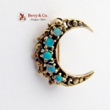 Vintage Crescent Moon Brooch 14 K Gold Water Opals