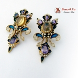 Ornate Large Dangle Earrings Amethyst Citrine Seed Pearls Multi Colored Enamel Sterling Gilt