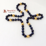 Large Lapis Bead Necklace 14 K Gold Beads