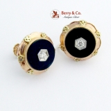 Art Deco Screw Back Earrings Onyx Diamond 14 K Gold