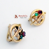 Vintage Round Floral Earrings Green and Red Tourmaline Seed Pearls 14K Gold