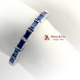 Art Deco Style Eternity Ring Sapphires 18 K White Gold