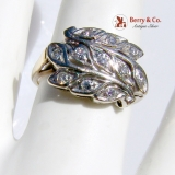 Vintage Floral Ring 11 Single Cut Diamonds 14 K Gold