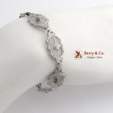 Edwardian Bracelet 14 K White Gold Rock Crystal Diamonds