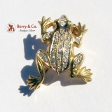 Vintage Frog Brooch 14 K Gold Diamonds