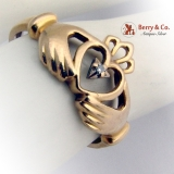 Claddagh Ring 14 K Gold Diamond Accent