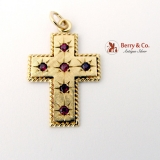 Retro Cross Pendant Ruby 14 K Yellow Gold