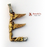 Angel Pendant 8 Single Cut Diamonds 2 Small Rubies 14 K Gold Signed