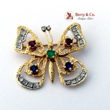 Estate Butterfly Brooch Sapphires Rubies Emerald Diamonds 14 K Gold