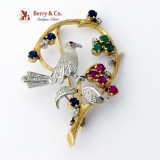 Figural Bird in a Tree Brooch 14 K Gold Natural Sapphires Rubies Emeralds Diamonds