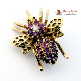 Estate Bee Brooch or Pendant Pink Sapphires Diamond 14 K Gold
