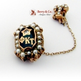 Vintage Phi Kappa Tau Fraternity Pin 10 K Gold Seed Pearls Diamond Chip