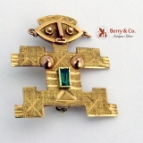 Pre-Colombian Style Female Figurine Brooch Pendant 14 K Gold Emerald
