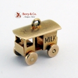 Vintage Milk Cart Charm 10 K Gold