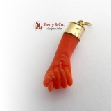 Fig Sign Natural Coral 10 K Gold Pendant