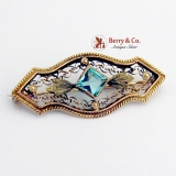 Vintage Brooch 10 K Gold Light Blue Glass Gem
