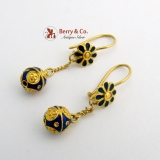 Dangle Earrings Ball Blue Enamel 18 K Gold