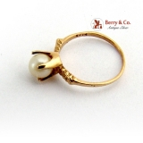 Vintage Tiny Baby Pearl Ring 14 K Gold