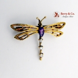 Vintage Dragonfly Brooch 9 Ct Gold Amethyst