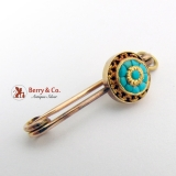 Victorian Pin Brooch 10 K Gold Turquoise
