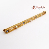 Vintage Long Bar Pin Brooch Seed Pearls Sapphires 14 K Gold