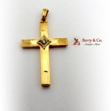 Vintage Cross Pendant 14 K Gold Diamond Accent