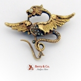 Victorian Griffin Brooch Seed Pearls 14 K Gold