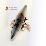 Vintage Long Ring Agate 14 K Yellow Gold