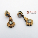 Victorian Dangle Earrings 14 K Gold Diamonds