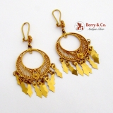 Round Filigree Dangle Earrings 18 K Gold 750