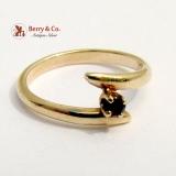 Vintage Baby Ring 14 K Gold Garnet Size 3/4